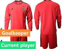 Mens 20-21 Soccer Argentina National Team Current Player Red Goalkeeper Long Sleeve Suit Jersey