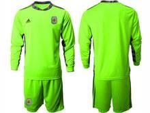 Mens 20-21 Soccer Argentina National Team ( Custom Made ) Green Goalkeeper Long Sleeve Suit Jersey
