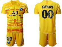 Mens 20-21 Soccer Paris Saint Germain ( Custom Made ) Yellow Goalkeeper Short Sleeve Suit Jersey