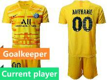 Mens 20-21 Soccer Paris Saint Germain Current Player Yellow Goalkeeper Short Sleeve Suit Jersey