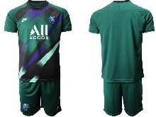 Mens 20-21 Soccer Paris Saint Germain ( Custom Made ) Green Goalkeeper Short Sleeve Suit Jersey