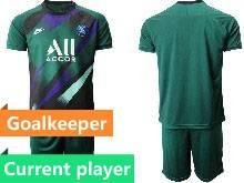 Mens 20-21 Soccer Paris Saint Germain Current Player Green Goalkeeper Short Sleeve Suit Jersey