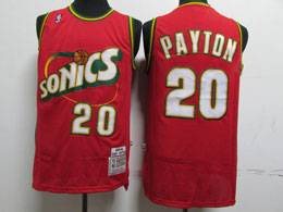 Mens Nba Seattle Supersonics #20 Gary Payton Red 1995-96 Mitchell&ness Swingman Hardwood Classics Jersey