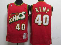Mens Nba Seattle Supersonics #40 Shawn Kemp Red 1995-96 Mitchell&ness Swingman Hardwood Classics Jersey