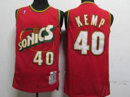 Mens Nba Seattle Supersonics #40 Shawn Kemp Red 1995-96 Mitchell&ness Swingman Hardwood Classics Jersey