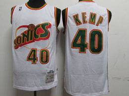 Mens Nba Seattle Supersonics #40 Shawn Kemp White 1995-96 Mitchell&ness Swingman Hardwood Classics Jersey