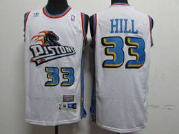 Mens Nba Detroit Pistons #33 Grant Hill White Mitchell&ness Hardwood Classics Swingman Adidas Mesh Jersey
