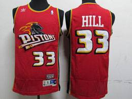 Mens Nba Detroit Pistons #33 Grant Hill Red Mitchell&ness Hardwood Classics Swingman Adidas Mesh Jersey