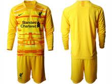 Mens 20-21 Soccer Liverpool Club ( Custom Made ) Yellow Goalkeeper Long Sleeve Suit Jersey