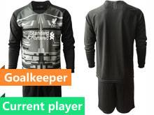 Mens 20-21 Soccer Liverpool Club Current Player Black Goalkeeper Long Sleeve Suit Jersey