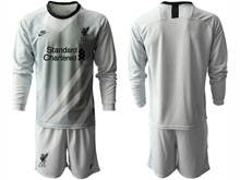 Mens 20-21 Soccer Liverpool Club ( Custom Made ) Gray Goalkeeper Long Sleeve Suit Jersey