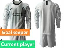 Mens 20-21 Soccer Liverpool Club Current Player Gray Goalkeeper Long Sleeve Suit Jersey