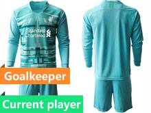 Mens 20-21 Soccer Liverpool Club Current Player Blue Goalkeeper Long Sleeve Suit Jersey