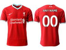 Mens 20-21 Soccer Liverpool Club ( Custom Made ) Red Home Thailand Short Sleeve Jersey