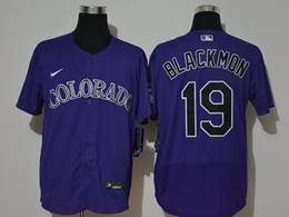 Mens Mlb Colorado Rockies #19 Charlie Blackmon Purple Flex Base Nike Jersey