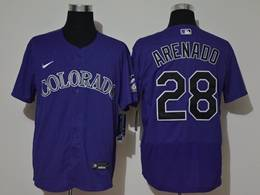 Mens Mlb Colorado Rockies #28 Nolan Arenado Purple Flex Base Nike Jersey