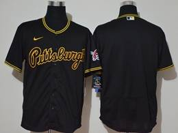 Mens Mlb Pittsburgh Pirates Blank Black Flex Base Nike Jersey(pittsburgh On The Front)