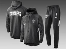 Mens Nba Cleveland Cavaliers Gray Wind Coat And Gray Sweat Pants Suit ( Hoodie )