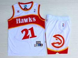 Mens Nba Atlanta Hawks #21 Wilkins White Hardwood Classics Suit Short Jersey