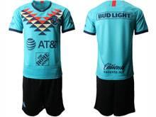 Mens 20-21 Soccer Club De Futbol América ( Custom Made ) Blue Second Away Short Sleeve Suit Jersey