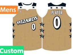 Mens Nba Washington Wizards Custom Made Gold Swingman Jersey