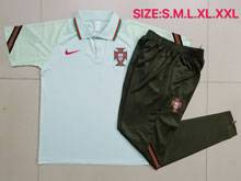 Mens 20-21 Soccer Portugal National Team Green Short Sleeves And Black Sweat Pants Training Suit