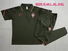 Mens 20-21 Soccer Portugal National Team Black Short Sleeves And Black Sweat Pants Training Suit