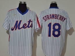 Mens Mlb New York Mets #18 Darryl Strawberry White Stripe Pullover Cool Base Nike Jersey