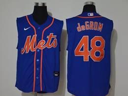 Mens Mlb New York Mets #48 Jacob Degrom Blue Sleeveless Cool Base Nike Jersey