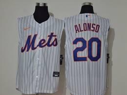 Mens Mlb New York Mets #20 Pete Alonso White Stripe Sleeveless Cool Base Nike Jersey