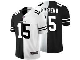 Mens Nfl Jacksonville Jaguars #15 Gardner Minshew Ii Black&white Split Peaceful Vapor Untouchable Limited Jersey