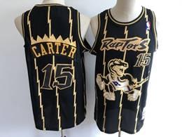 Mens Nba Toronto Raptors #15 Vince Carter Black Gold Stripe Mitchell&ness Hardwood Classics Mesh Jersey