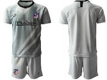 Mens 20-21 Soccer Atletico De Madrid Club ( Custom Made ) Gray Goalkeeper Short Sleeve Suit Jersey