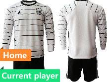 Mens Soccer Germany Ntaional Team Current Player White 2021 European Cup Home Long Sleeve Suit Jersey