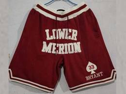 Mens Nba Los Angeles Lakers Kobe Lower Merion High School Red Just Don Pocket Shorts