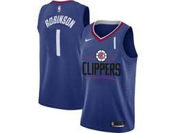 Mens Nba Los Angeles Clippers #1 Jerome Robinson Blue Nike Jersey (black Letter On Front)