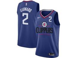Mens Nba Los Angeles Clippers #2 Kawhi Leonard Blue Nike Jersey (black Letter On Front)
