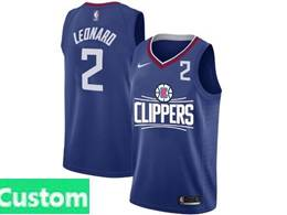 Mens Nba Nike Los Angeles Clippers Custom Made Blue Nike Jersey (white Letter On Front)