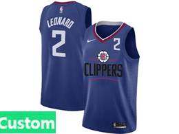 Mens Nba Nike Los Angeles Clippers Custom Made Blue Nike Jersey (black Letter On Front)