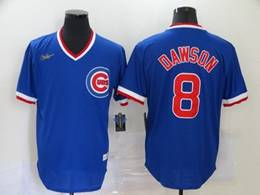 Mens Mlb Chicago Cubs #8 Andre Dawson Blue Throwbacks V Neck Pullover Cool Base Nike Jersey