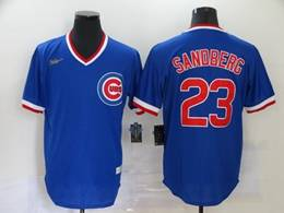 Mens Mlb Chicago Cubs #23 Ryne Sandberg Blue Throwbacks V Neck Pullover Cool Base Nike Jersey