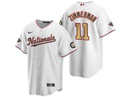 Mens Mlb Washington Nationals #11 Ryan Zimmerman White Gold Number 2020 Champions Cool Base Nike Jerse