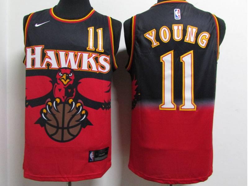Mens Nba Atlanta Hawks #11 Trae Young Black Red Nike Swingman Jersey