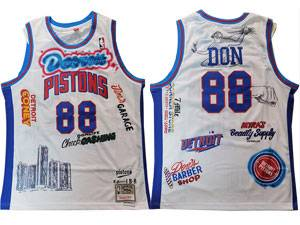 Mens Nba Big Sean X Detroit Pistons #88 Don White Mitchell&ness Hardwood Classics Swingman Nike Jersey