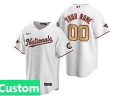 Women Mlb Washington Nationals Custom Made White Gold Number 2020 Champions Cool Base Nike Jersey