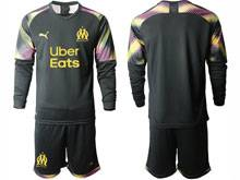Mens 20-21 Soccer Olympique De Marseille Club ( Custom Made ) Black Goalkeeper Long Sleeve Suit Jersey