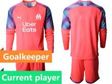 Mens 20-21 Soccer Olympique De Marseille Club Current Player Pink Goalkeeper Long Sleeve Suit Jersey