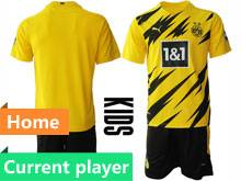 Kids 20-21 Soccer Borussia Dortmund Club Current Player Yellow Home Short Sleeve Suit Jersey