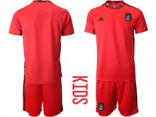 Kids 20-21 Soccer Mexico National Team ( Custom Made ) Red Goalkeeper Short Sleeve Suit Jersey