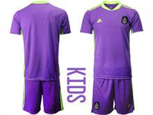 Kids 20-21 Soccer Mexico National Team ( Custom Made ) Purple Goalkeeper Short Sleeve Suit Jersey